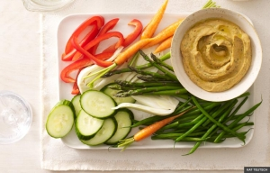 Garlicky Hummus with Raw Vegetable Batons (KAT TEUTSCH)
