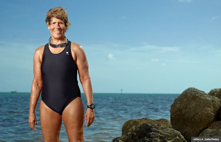 61-Year-old Diana Nyad trains to swim from Key West, Florida to Cuba. (Jeffery A. Salter/Redux)