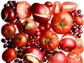 Heart healthy foods, fruits, Apples, cranberries and tomatoes.