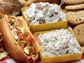 A picnic lunch with sandwiches,potato salad,coleslaw and cookies, Food Safety for Memorial Day