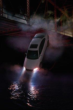 Un carro undiéndose en un rio - Guía de supervivencia