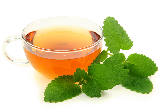Lemon balm. Tea made from the herb lemon balm contains naturally occurring oils called terpenes. To brew your own soothing lemon balm tea, add 1 to 3 teaspoons of dried leaves to one cup of freshly boiled water. Cover and let steep for 10 minutes, then strain.