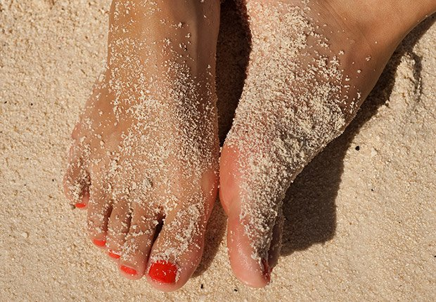 Remember Your Feet  The tops of your toes — as well as the tips of your ears and the back of your neck — tend to get burned frequently, so be sure to slather sunscreen on these places.