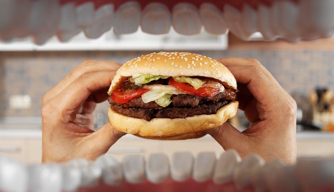 Hamburger, man's hands, Personal Best: My Fitness