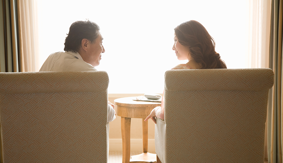 Couple make eye contact, Fall Back in Love