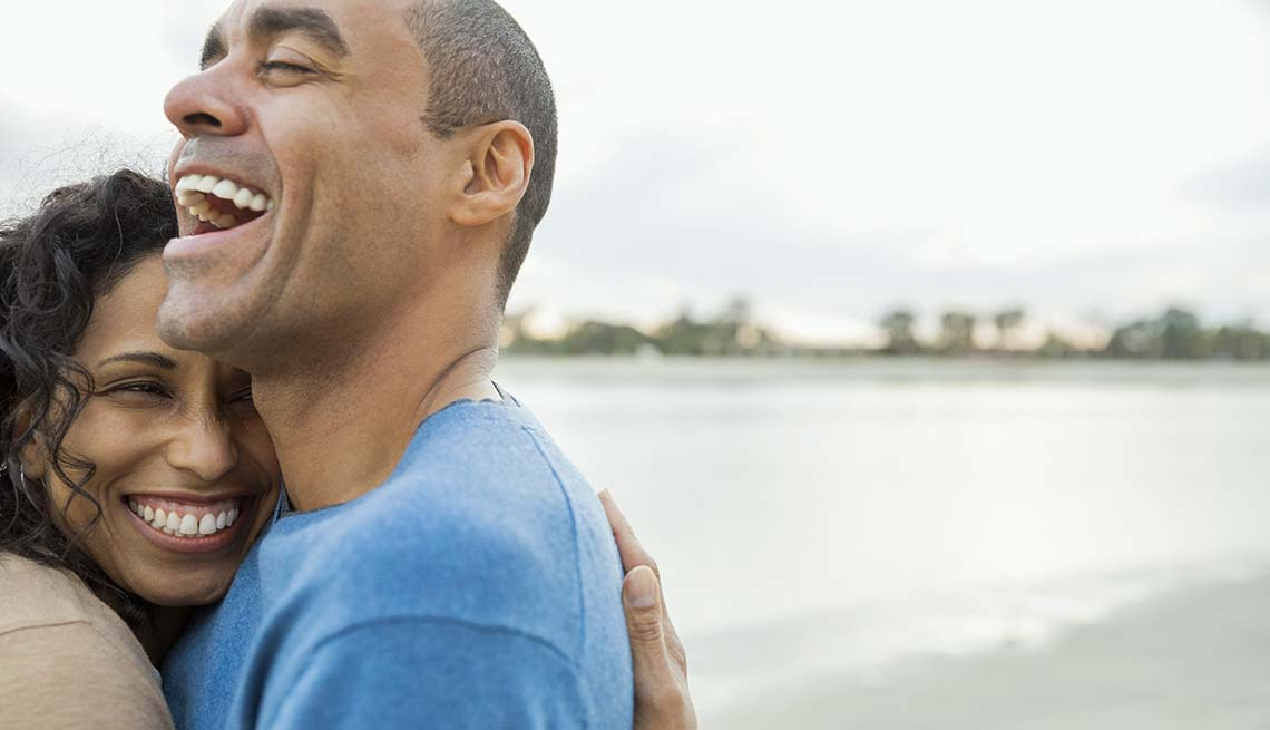 Couple hug and laugh, Reduce Stress