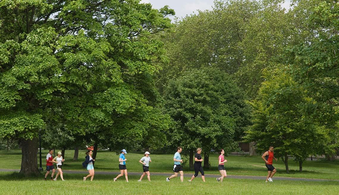 Grupo de personas ejercitándose en un parque - Formas de reducir el estrés