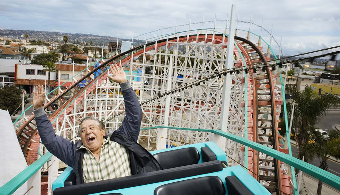 Man on a rollercoaster, Reduce Stress, Adrenaline Rush