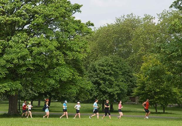 Grupo de personas corriendo en un parque público - Formas de reducir el estrés