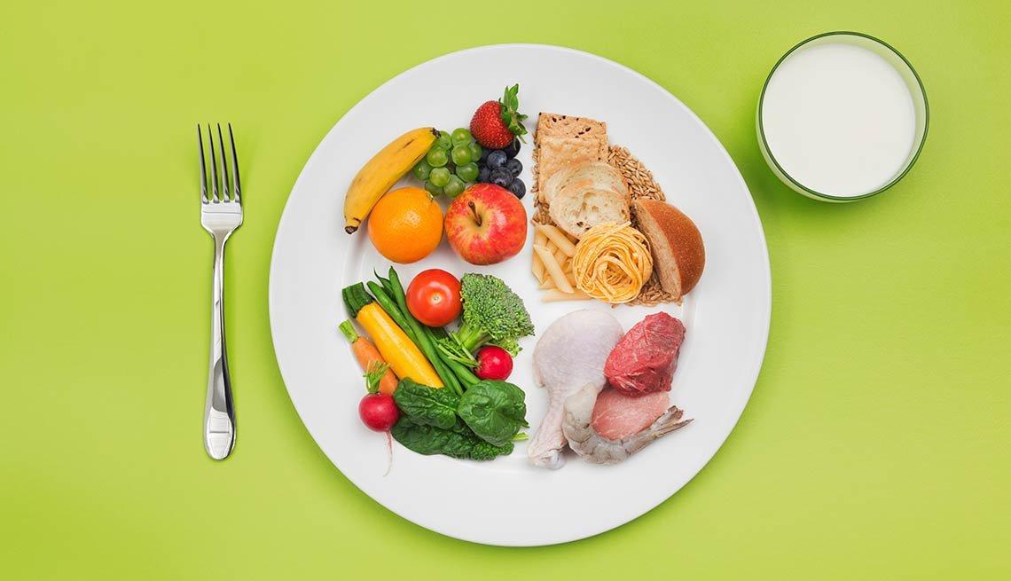 Plato con alimentos nutritivos