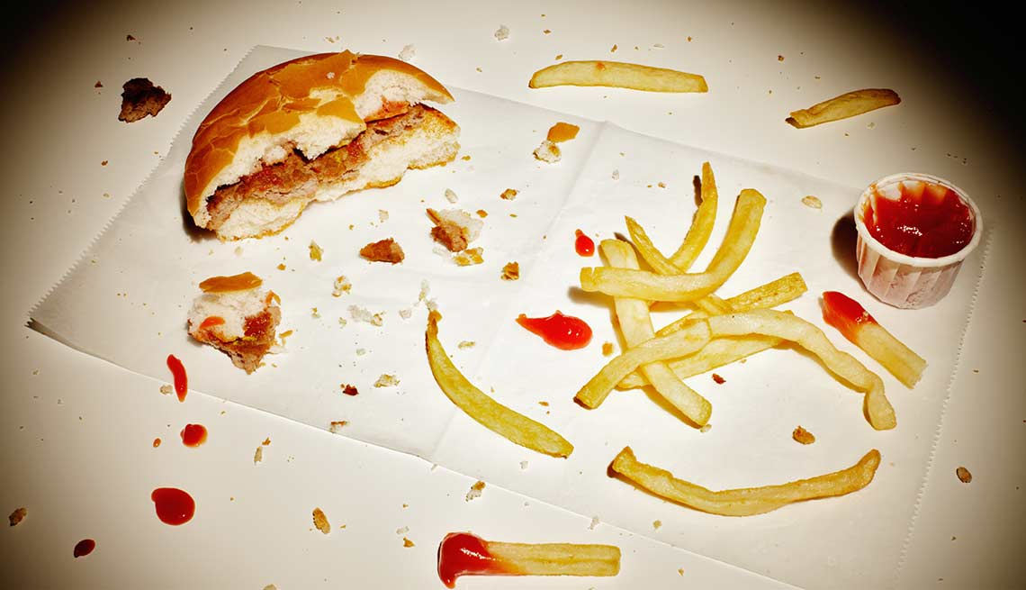 Hamburger and fries remnants, food drug interaction