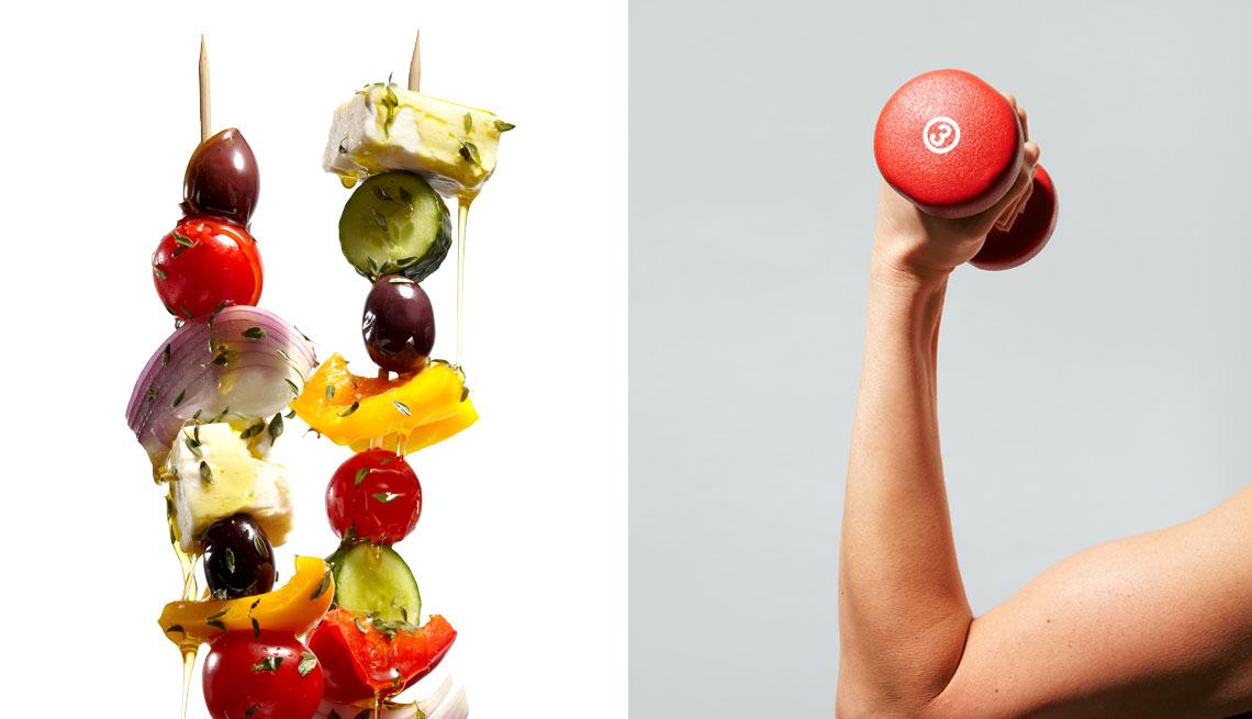 Kabob de vegetales y un brazo levantando una mancuerna