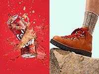 Imagen dividida: Lata de soda explotando y un pie con botas sobre una roca