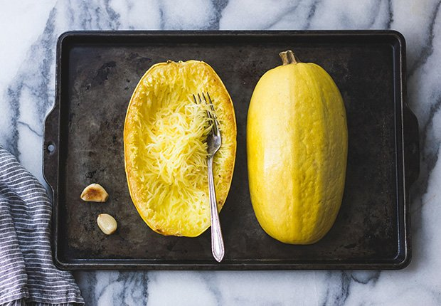 Spaghetti Squash on a baking tray, Foods That Reduce Stress