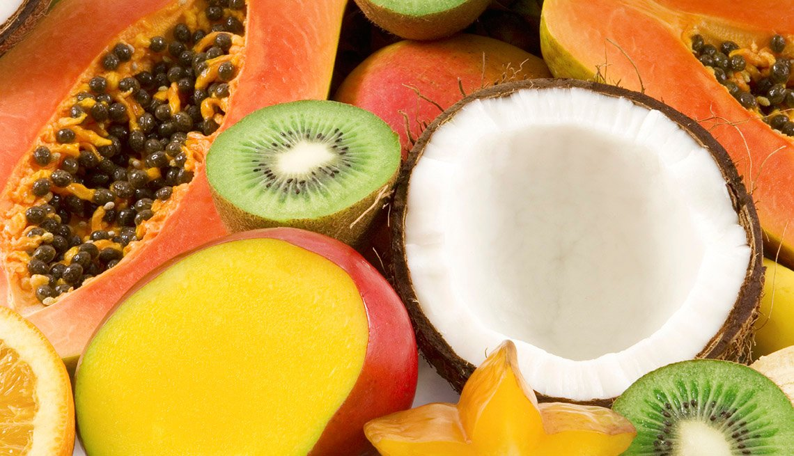 An Assortment Of Food Such As Passionfruit, Kiwi, Coconut And Mango, Healthy Living, Fruit Salad Recipes