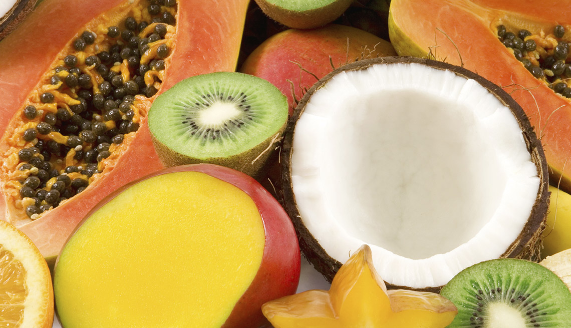 item 1 of Gallery image - An Assortment Of Food Such As Passionfruit, Kiwi, Coconut And Mango, Healthy Living, Fruit Salad Recipes