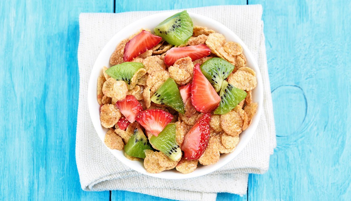 Cornflakes Cereal With Strawberry And Kiwi With Bright Blue Background, AARP Healthy Living, Fruit Salad Recipes