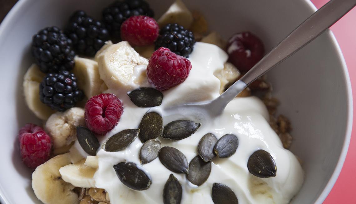 item 3 of Gallery image - Yogurt Topped With Blackberries, Raspberries And Bananas, AARP Healthy Living, Fruit Salad Recipes