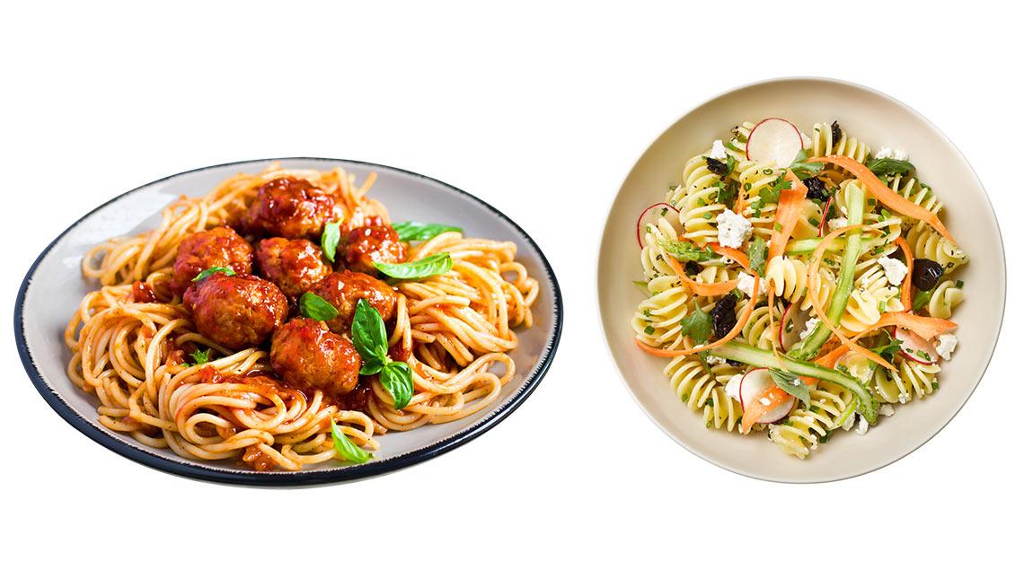 Spaguetti con albóndigas versus rottini con vegetales