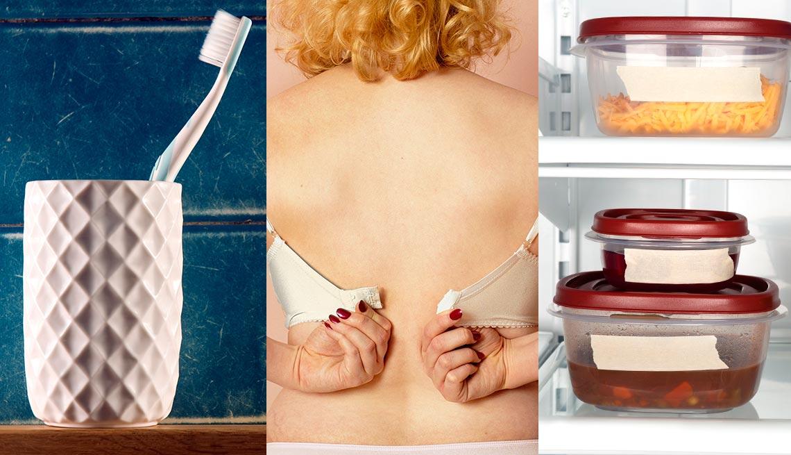 Cepillo de dientes, mujer quitándose el sostén y envases con comida