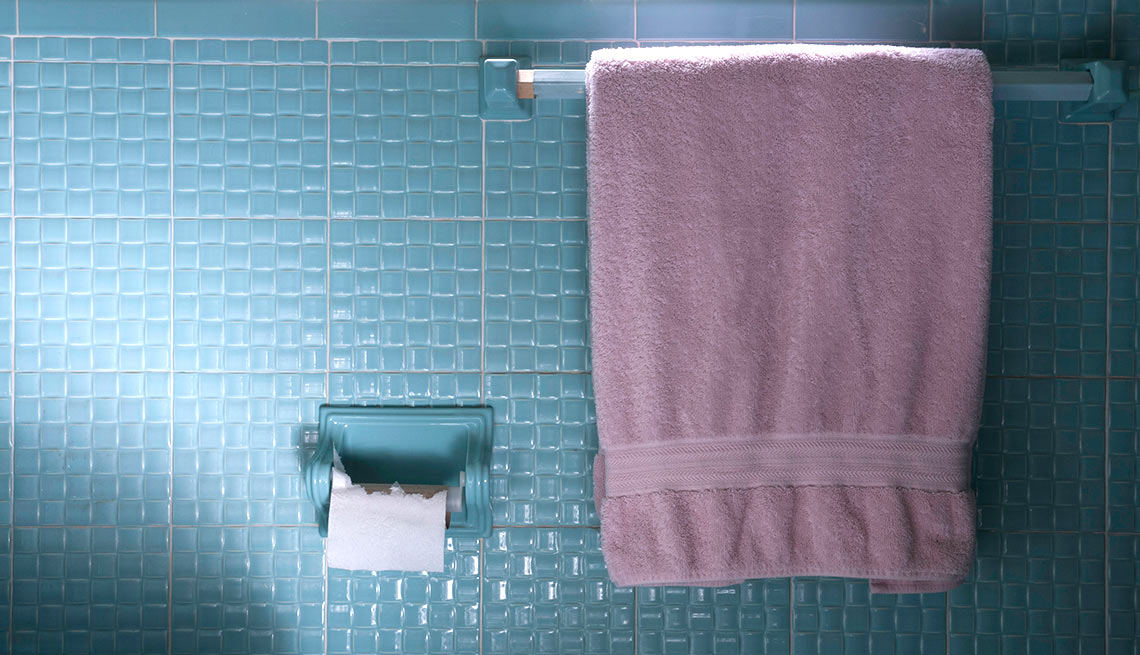 An old towel on a blue bathroom rack, Things to Throw Out