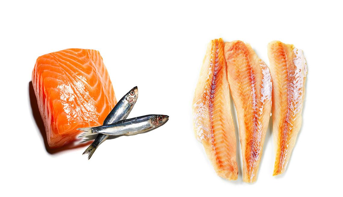 Filetes de salmón, tilapia y pez gato