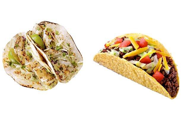 Taco de pescado versus taco de carne