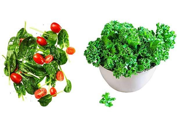 Ensalada de espinaca y tomates versus ensalada de kale