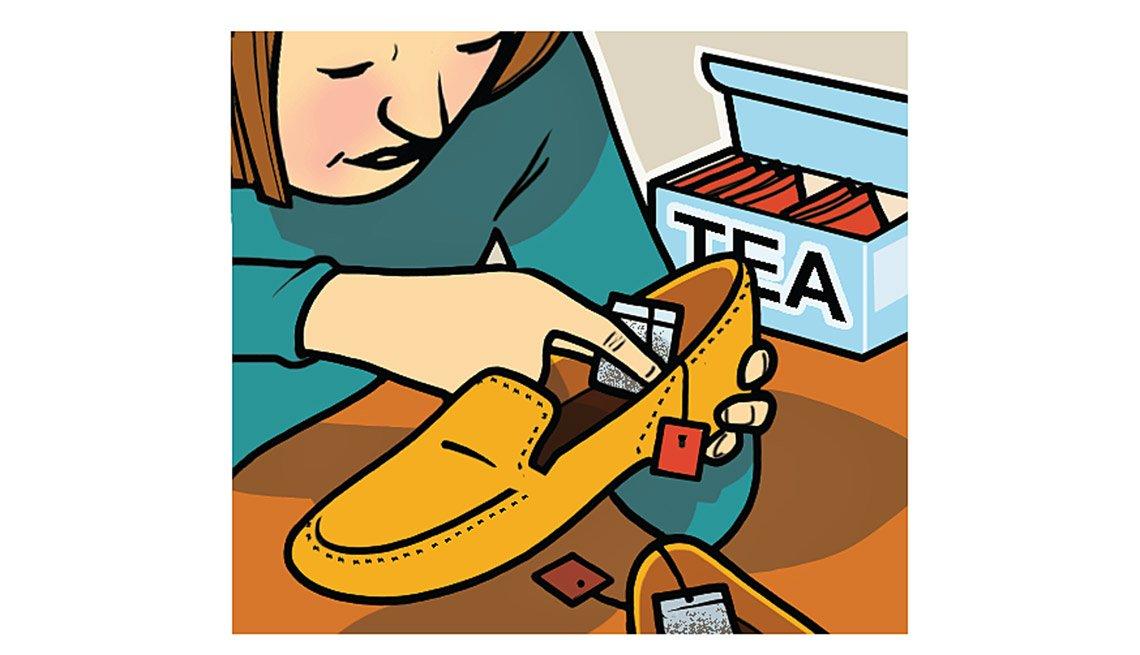 Gráfico - Mujer colocando una bolsa de té dentro de un zapato