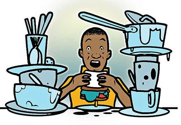 Gráfico - Persona comiendo en medio del desorden en la cocina