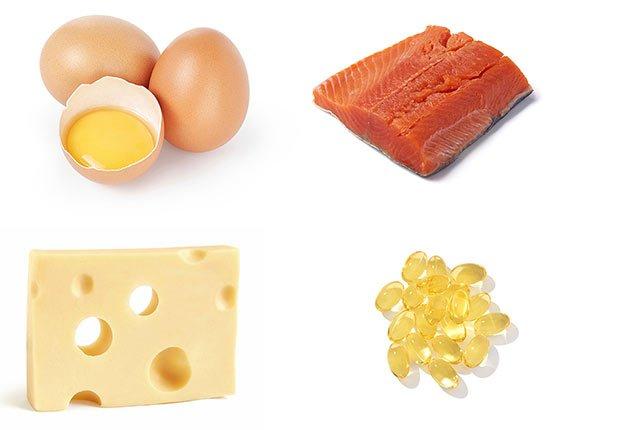 Huevos, salmón, queso y vitaminas