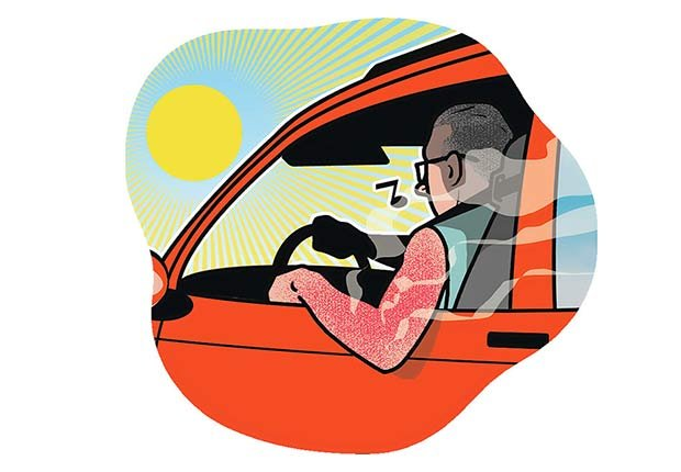 Gráfico - Hombre conduciendo con su brazo expuesto en la ventanta