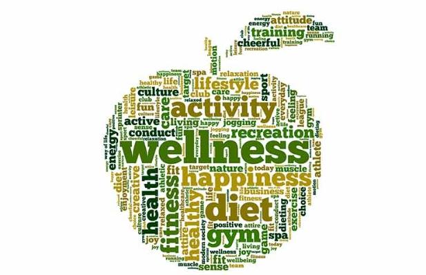 Palabras claves sobre salud formando una manzana