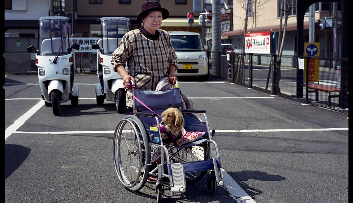 Mujer empujando una silla de ruedas con un perrito