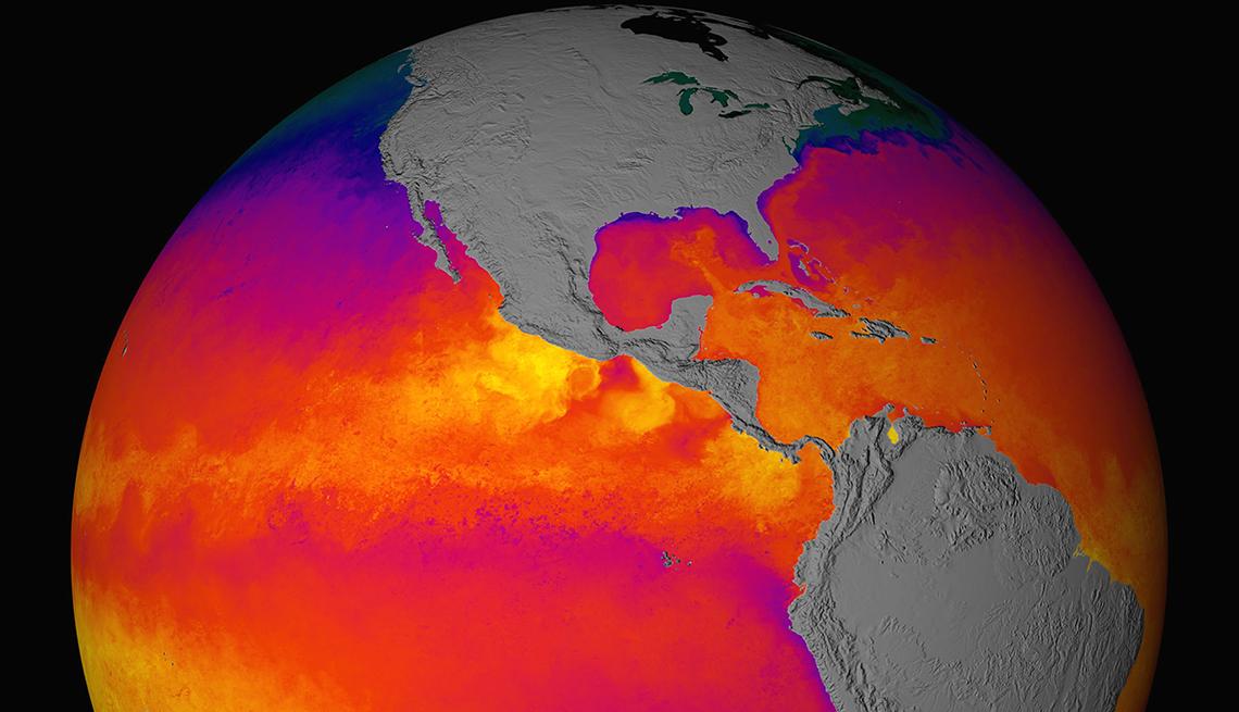 Mapa del globo terraqueo mostrando el calentamiento global
