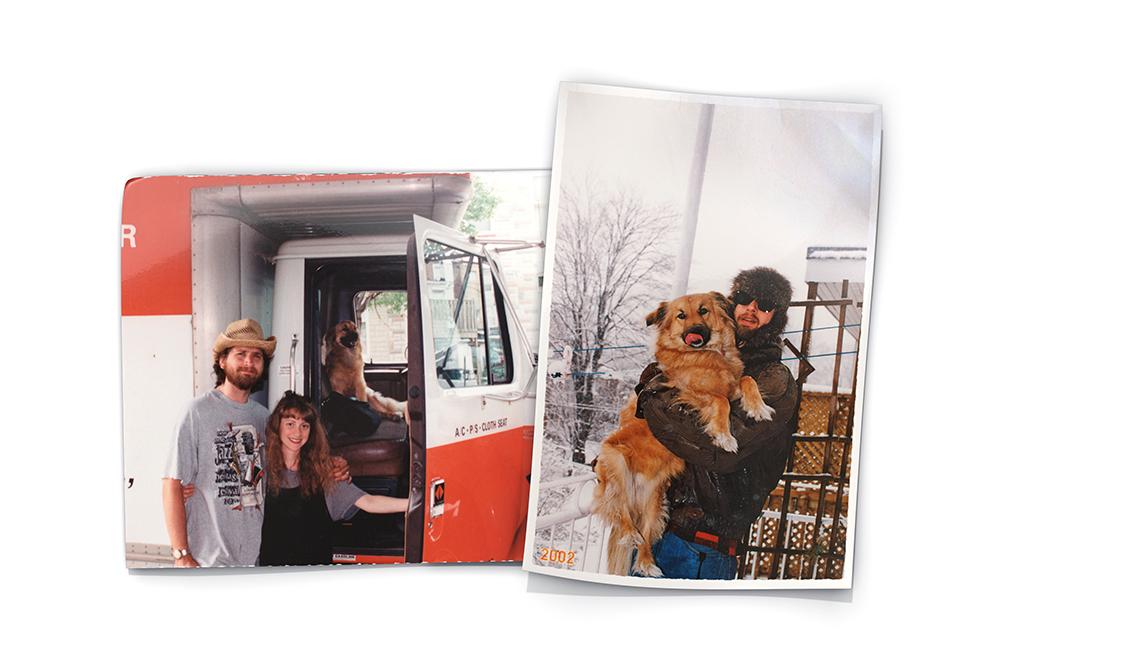 David Dudley con su hija y con su perro