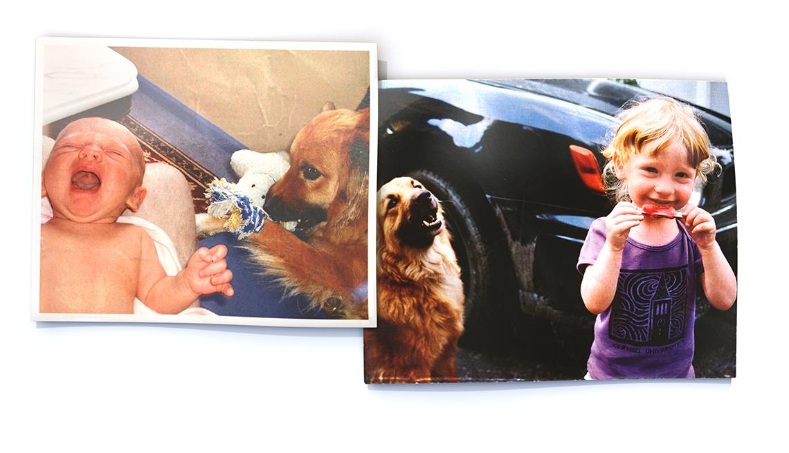 Primera hija de David Dudley y su hija con su perro