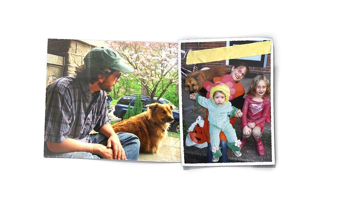 David Dudley con su perro y su esposa y sus hijas