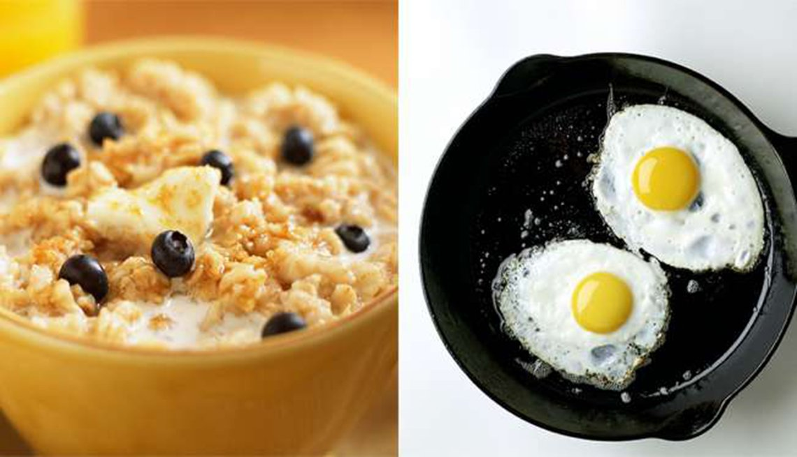 Avena instantánea versus huevo frito