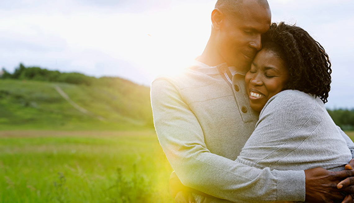 A couple hugging outdoors, Health Boosters