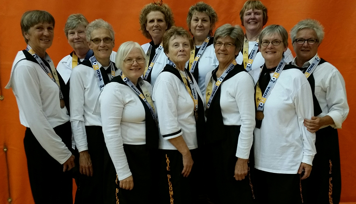 A group of senior women posing together