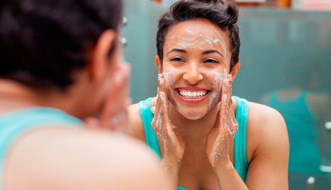 Woman washes her face, Good Habits Go Bad