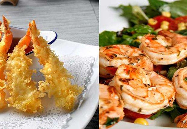 Sushi de tempura de camarones o camarones a la parrilla