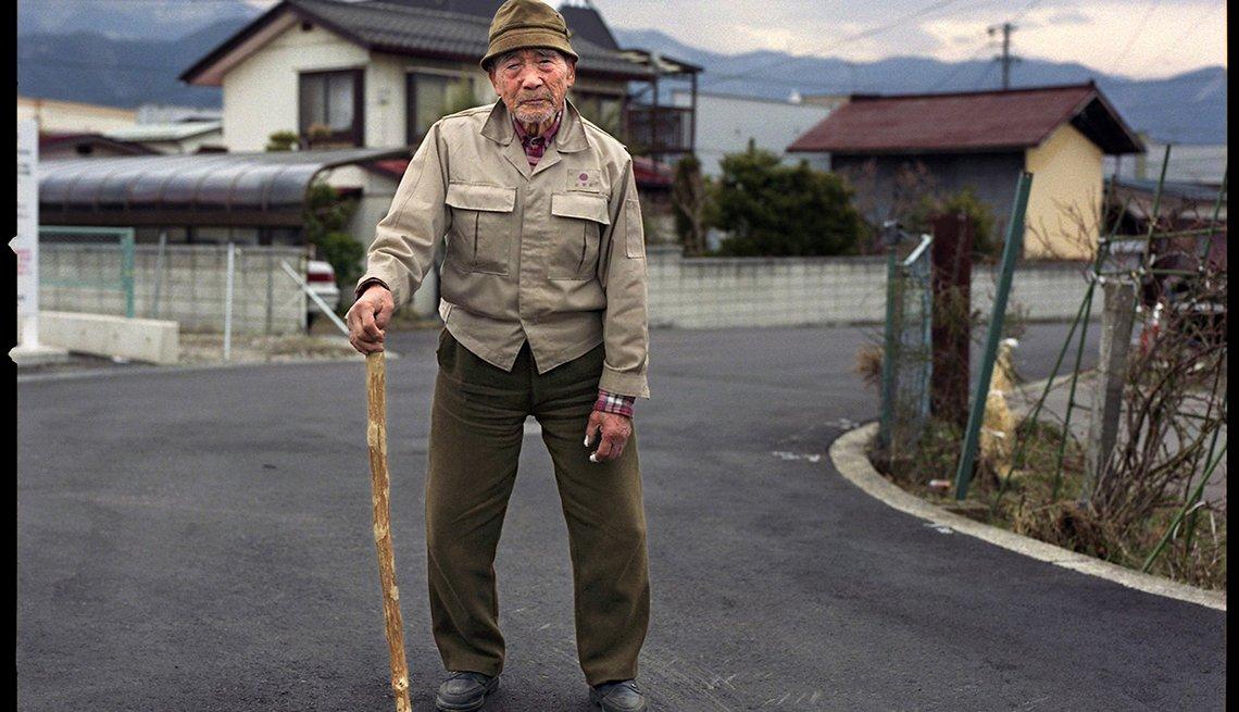Mr. Kazu, walking at 96, Longest Living place on Earth
