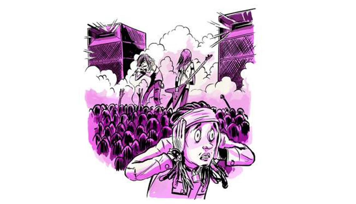 Gráfico de una persona cubriendo sus oídos durante un concierto