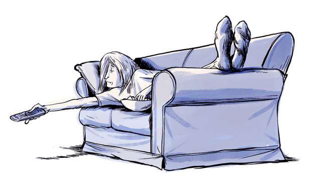 Gráfico de una persona viendo TV acostado en un sofá