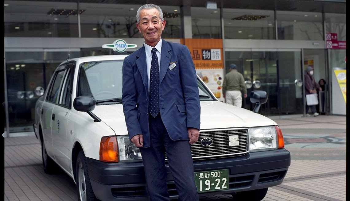 Mr. Ikeda, taxi driver, older worker, Nagano, Japan, Longest Living place on Earth