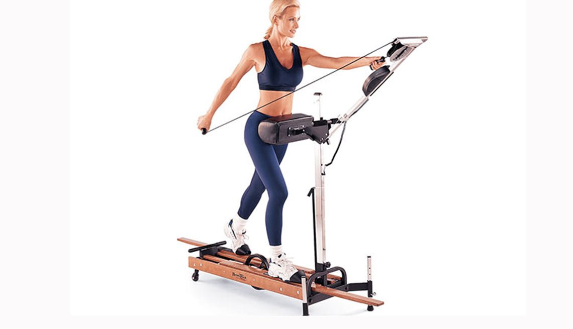 Woman uses a NordicTrack, Exercise equipment, Boomer Fitness Fads