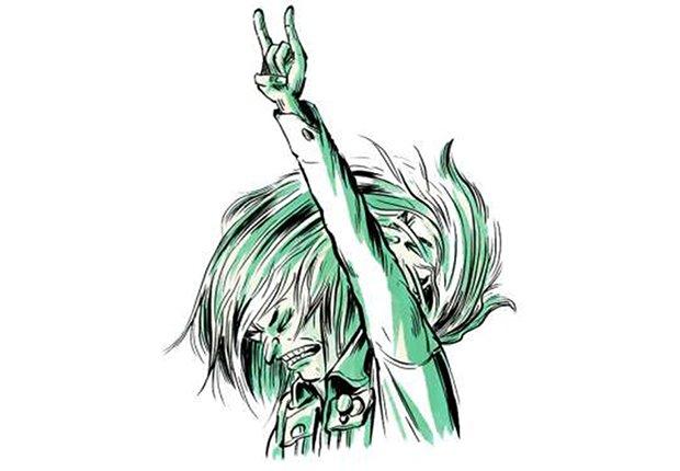 Gráfico de una persona disfrutando del rock