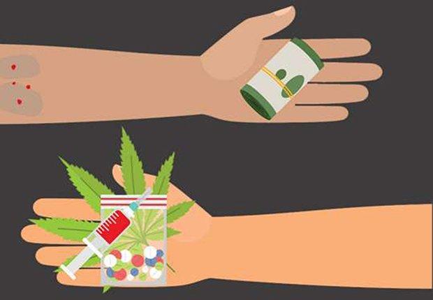 Grafico de unas manos intercambiando dinero por drogas ilícitas
